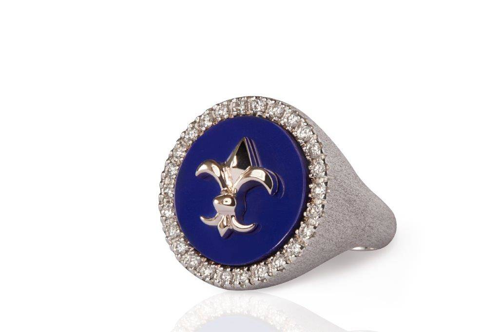 MIMIA LEBLANC BLUE RING WHITE GOLD DIAMOND