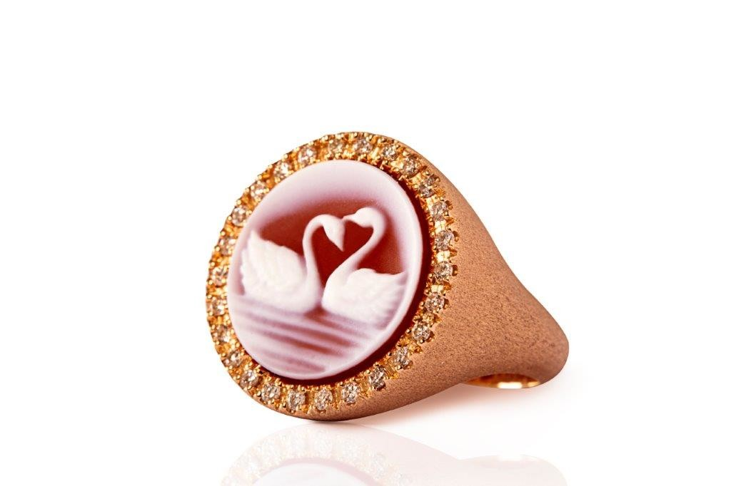 swans ring rose god diamond mimia leblanc jewelry