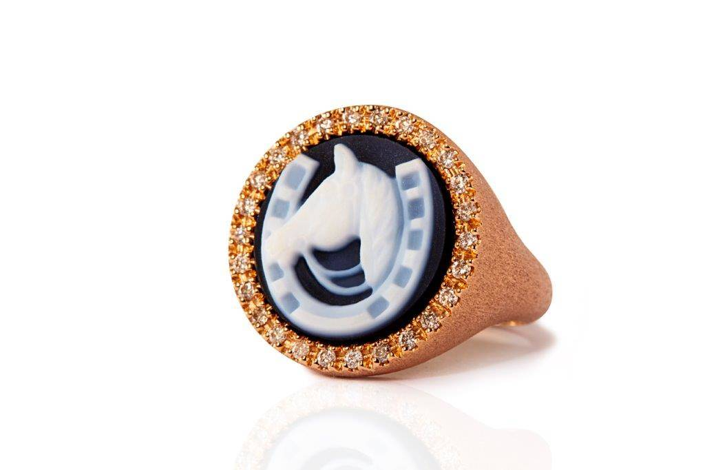 rose gold horse ring diamond mimia leblanc jewelry