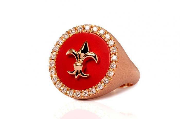 red pinky ring white diamonds mimia leblanc jewelry