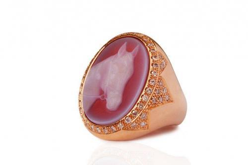 horse pink ring diamonds mimia leblanc jewelry