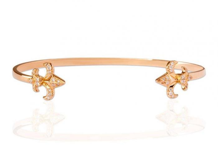 rose gold white diamonds bracelet bangle mimia leblanc jewelry