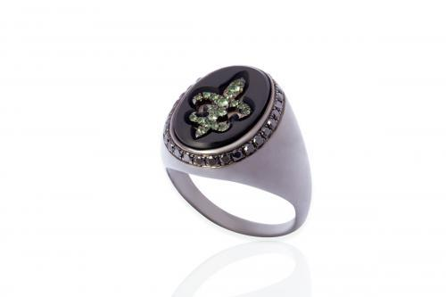 Mimia LeBlanc Jewelry BLACK RING GREEN DIAMONDS