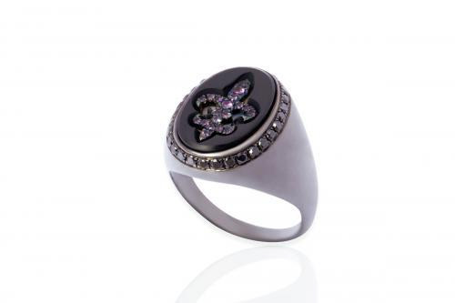 Mimia LeBlanc Jewelry BLACK RING PINK DIAMOND