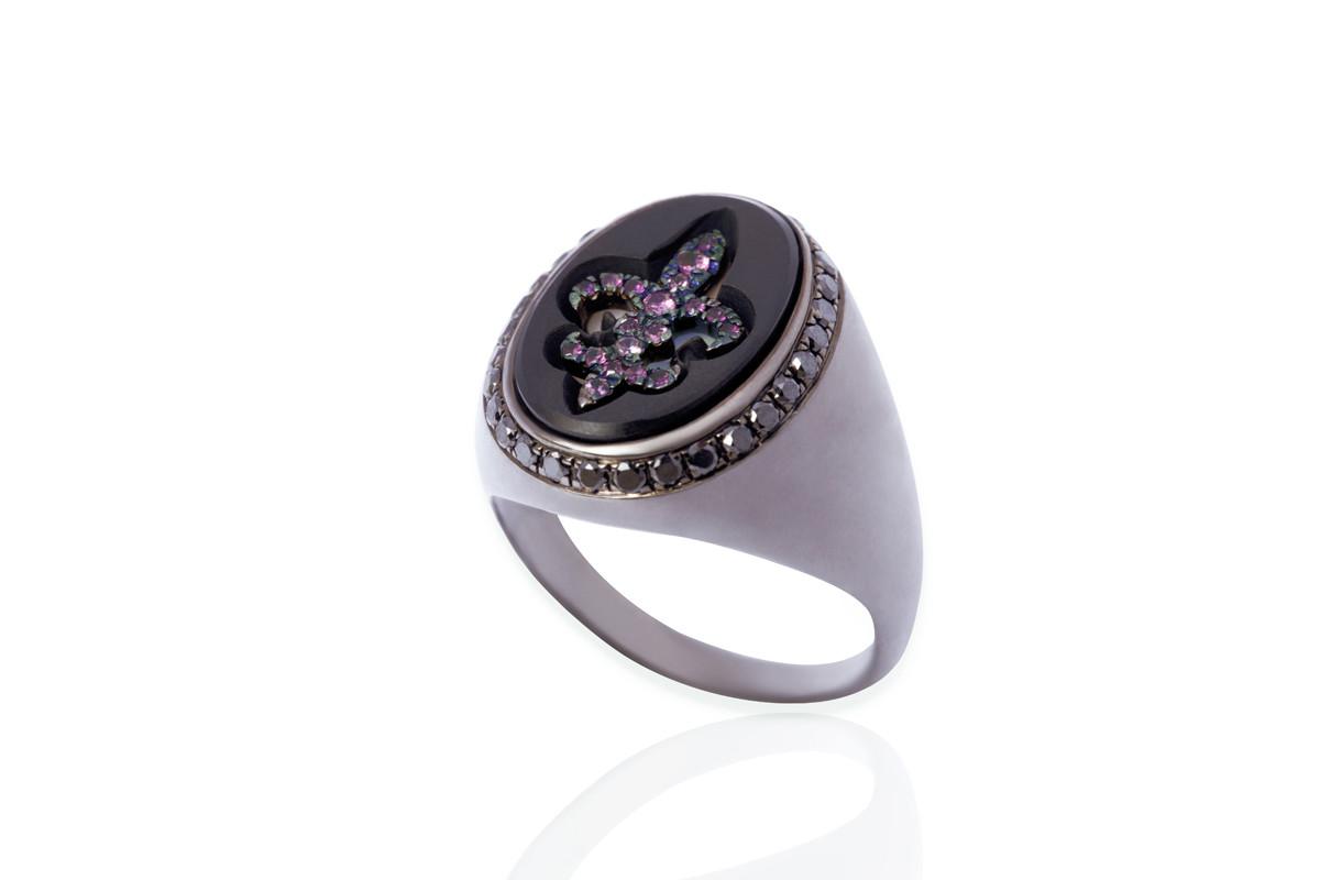 Mimia LeBlanc Jewelry BLACK RING PINK DIAMOND