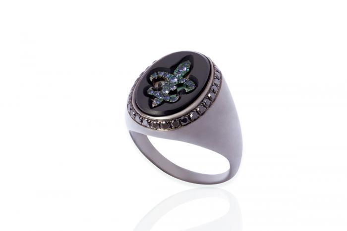 Mimia LeBlanc Jewelry BLACK RING BLUE DIAMONDS