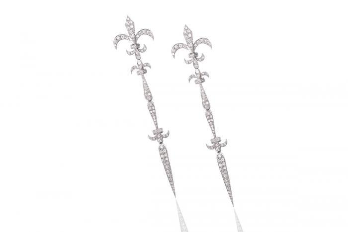 WHITE GOLD EARRINGS FLEUR DE LYS Mimia LeBlanc Jewelry