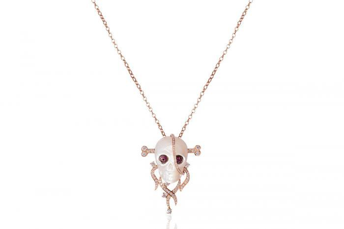 Mimia LeBlanc Jewelry SKULL HEAD PENDANT DIAMONDS