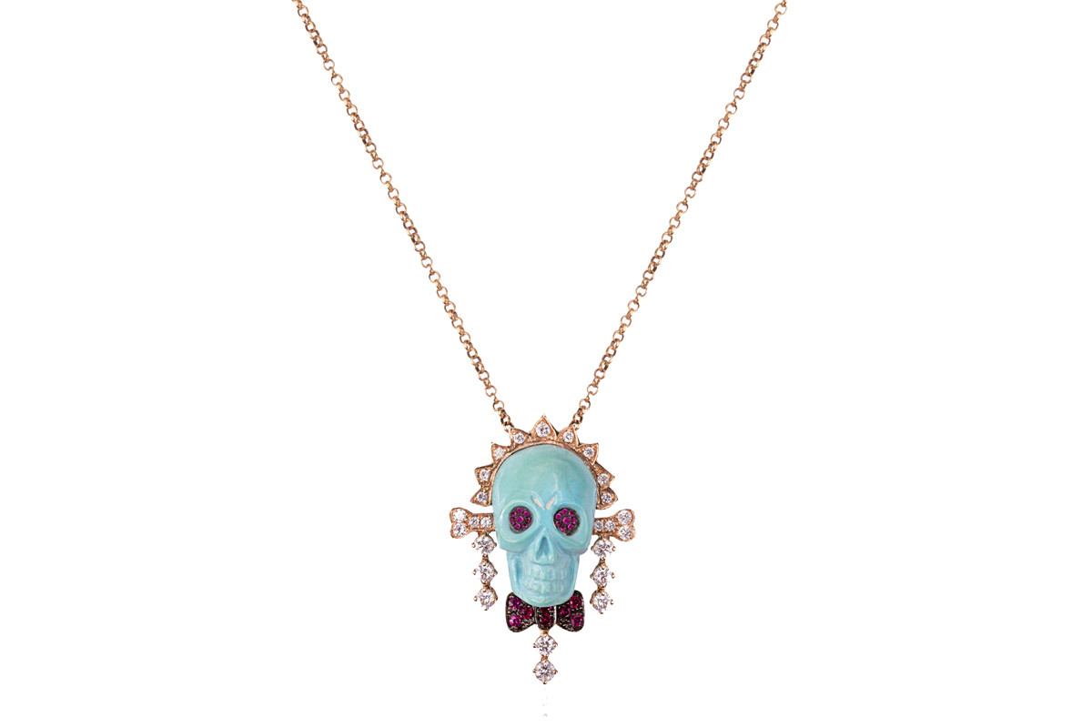 Mimia LeBlanc Jewelry BLUE SKUL HEAD DIAMONDS PENDANT