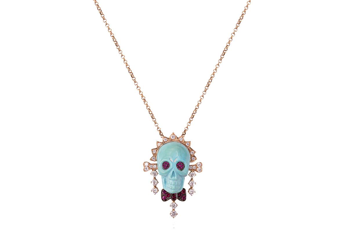 Mimia LeBlanc Jewelry BLUE SKUL HEAD DIAMONDS PENDANT